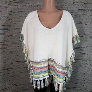 Roxy Mid Western Style Poncho Sweater